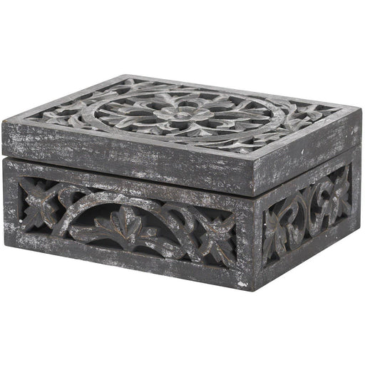 Lustro Carved Antique Metallic Wooden Box - Simply Utopia