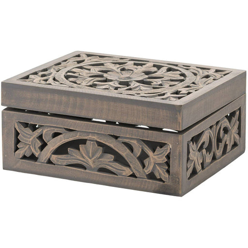 Lustro Carved Grey Wash Wooden Box - Simply Utopia