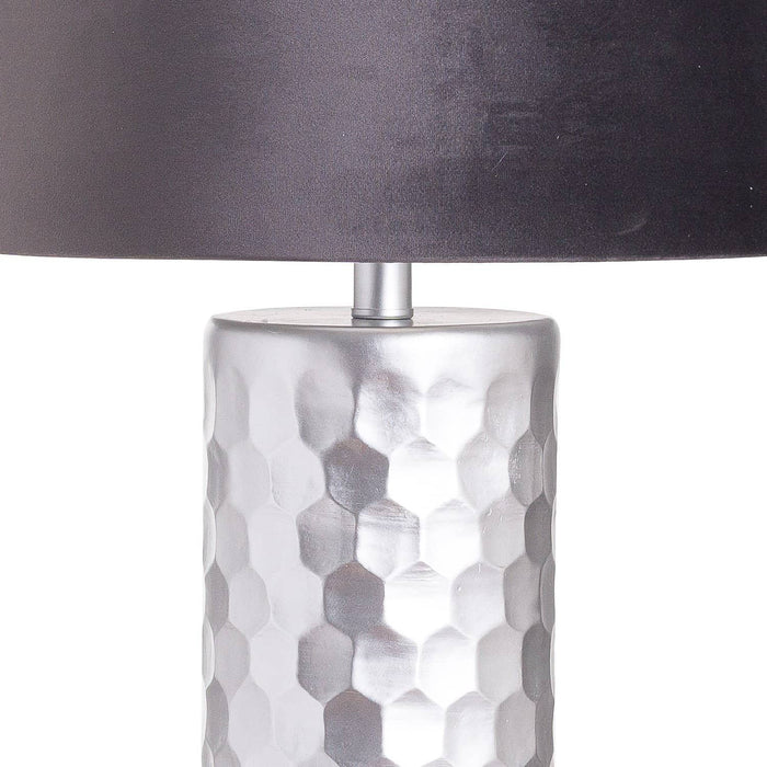 Honey Comb Silver Table Lamp With Grey Velvet Shade - Simply Utopia