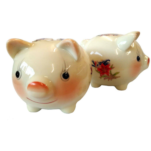 Flowery Porcelain Piggy Bank - Simply Utopia