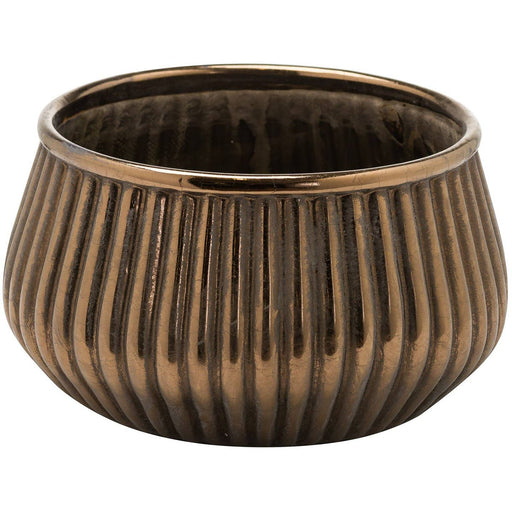 Evi Antique Bronze Decortive Squat Planter - Simply Utopia