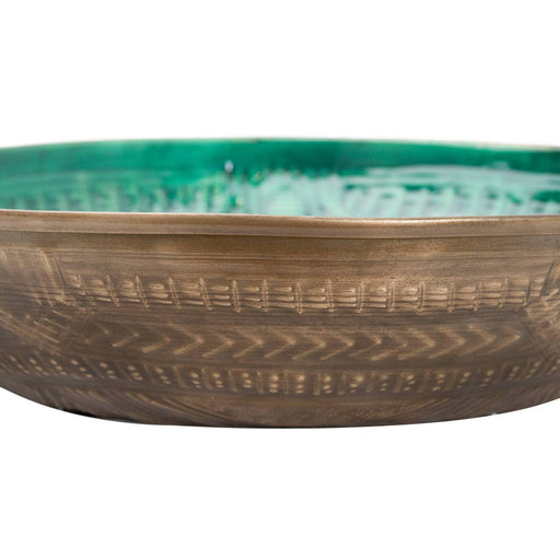 Aztec Collection Brass Embossed Ceramic Large Bowl - Simply Utopia