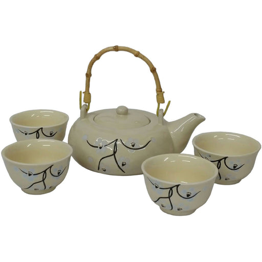 Blossom Twig Cream-coloured Glazed Teaset - Simply Utopia