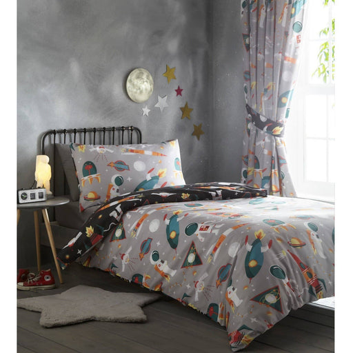 Spaceman Pencil Pleat Curtain - Simply Utopia