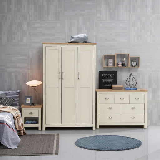 Lisbon 3 Piece Set (3 Door Wardrobe, 3+4 Chest, 1 Drawer Bedside) - Simply Utopia