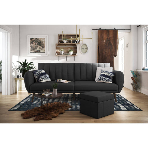 Brittany Ribbed Tufted Cushioned Back Sofa Bed With Curved Armrests - Simply Utopia