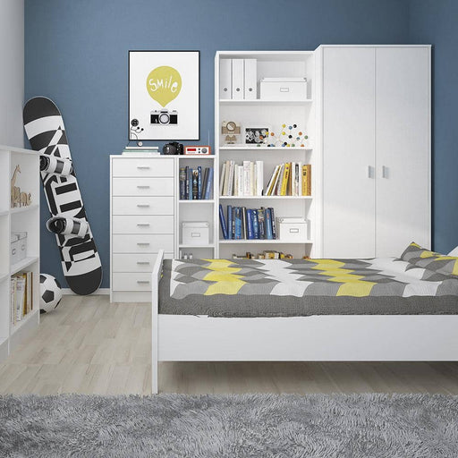 4 You Tall Narrow Bookcase in Pearl White - Simply Utopia