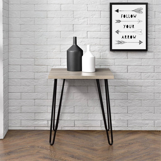 Owen Retro Rustic End Table With Black Hairpin Legs - Simply Utopia