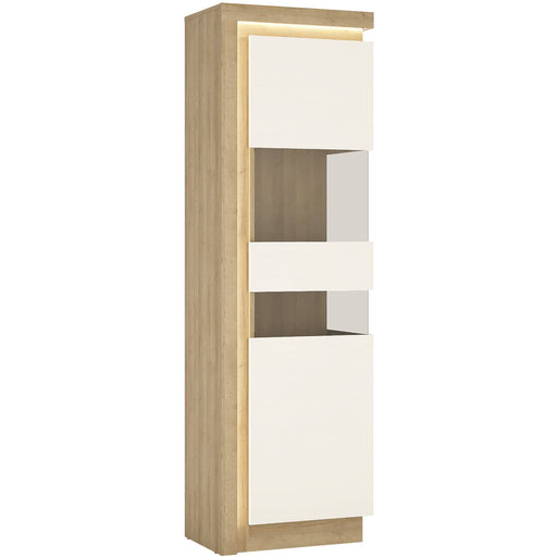 Lyon Tall narrow display cabinet (RHD) in Riviera Oak/White High Gloss - Simply Utopia