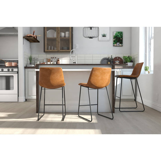 Bowden Upholster Molded Counter Stool Caramel Maple - Simply Utopia