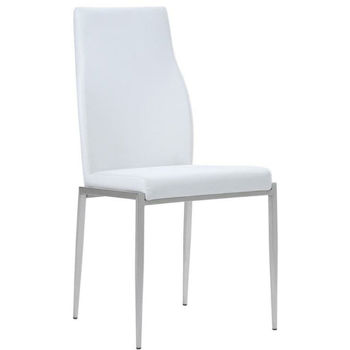 Milan High Back Chair White Faux Leather. Set of 2 - Simply Utopia