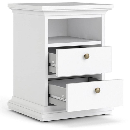 Paris Bedside 2 Drawers in White - Simply Utopia