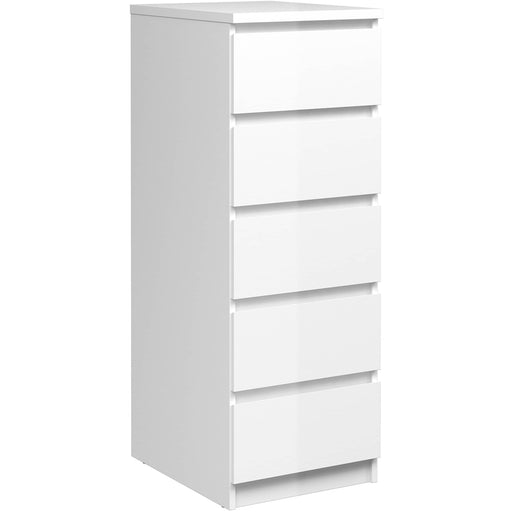Naia Narrow Chest of 5 Drawers in White High Gloss - Simply Utopia