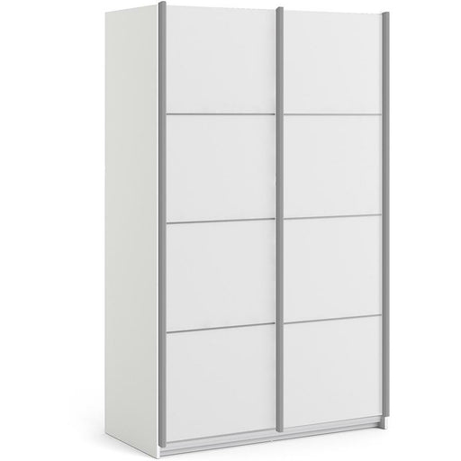 Verona Sliding Wardrobe 120cm in White with White Doors with 5 Shelves - Simply Utopia
