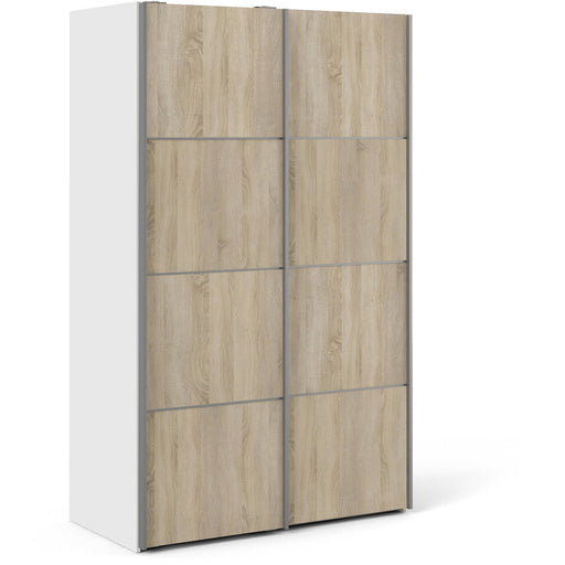 Verona Sliding Wardrobe 120cm in White with Oak Doors with 5 Shelves - Simply Utopia