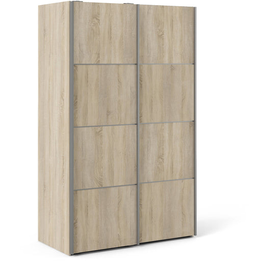 Verona Sliding Wardrobe 120cm in Oak with Oak Doors with 2 Shelves - Simply Utopia