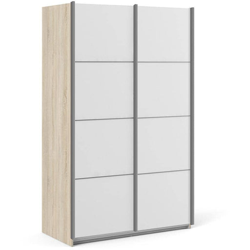 Verona Sliding Wardrobe 120cm in Oak with White Doors with 5 Shelves - Simply Utopia