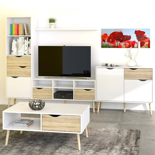 Oslo Bookcase 2 Drawers 1 Door in White and Oak - Simply Utopia