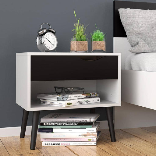 Oslo Bedside 1 Drawer in White and Black Matt - Simply Utopia