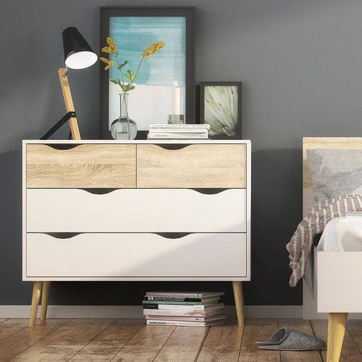 Oslo Chest of 4 Drawers (2+2) in White and Oak - Simply Utopia