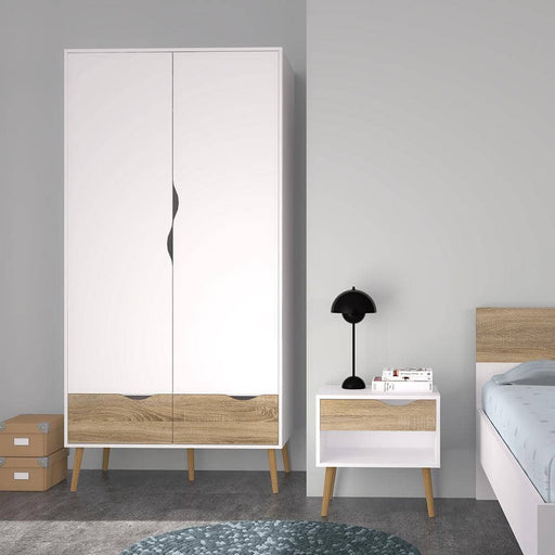 Oslo Wardrobe 2 Doors 2 Drawers in White and Oak - Simply Utopia