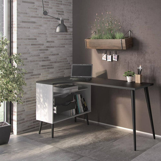 Oslo Desk 2 Drawer in White and Black Matt - Simply Utopia