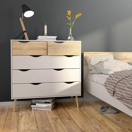 Oslo Chest of 5 Drawers (2+3) in White and Oak - Simply Utopia