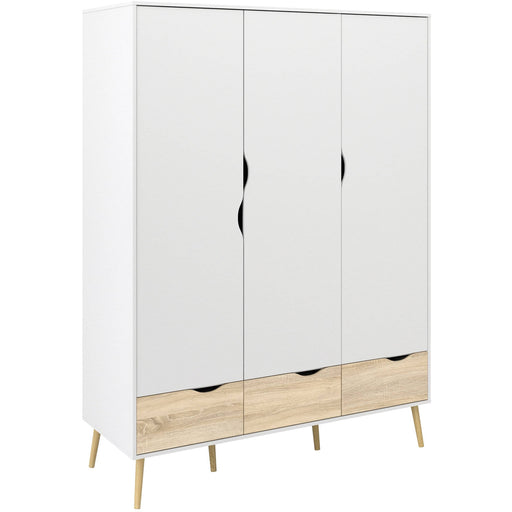 Oslo Wardrobe 3 Doors 3 Drawers in White and Oak - Simply Utopia