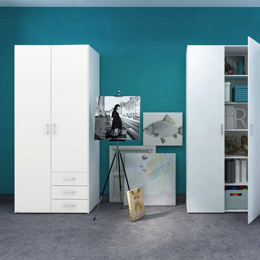 Space Wardrobe - 2 Doors 3 Drawers in White - Simply Utopia