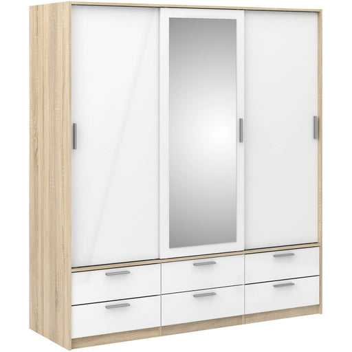 Line  Wardrobe - 3 Doors 6 Drawers in Oak with White High Gloss - Simply Utopia