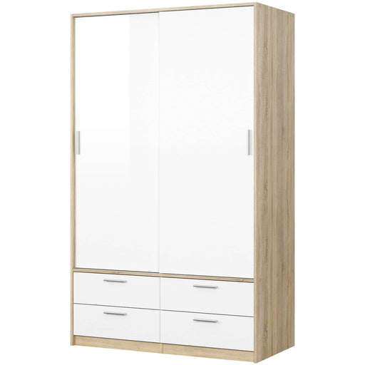 Line  Wardrobe - 2 Doors 4 Drawers in Oak with White High Gloss - Simply Utopia
