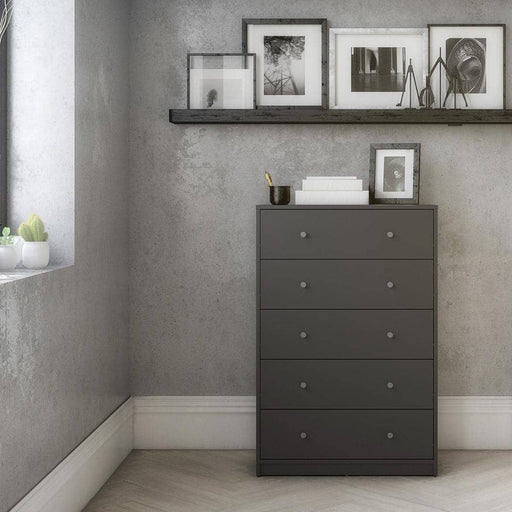 May Chest of 5 Drawers in Grey - Simply Utopia