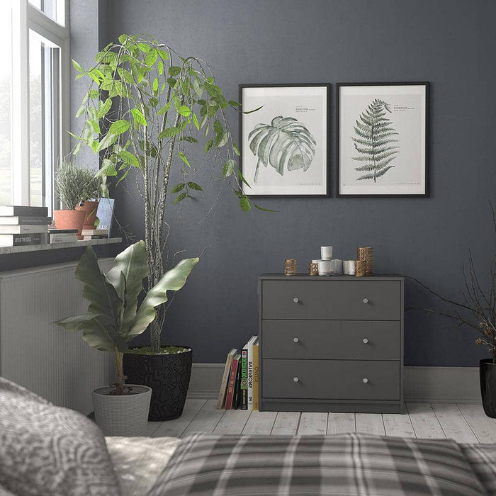 May Chest of 3 Drawers in Grey - Simply Utopia