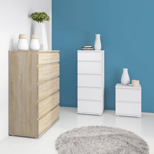 Nova Narrow Chest of 5 Drawers in White - Simply Utopia