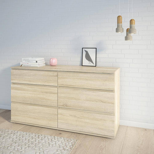 Nova Wide Chest of 6 Drawers (3+3) in Oak - Simply Utopia