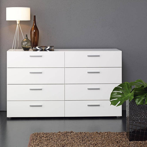 Pepe Wide Chest of 8 Drawers (4+4) in White - Simply Utopia