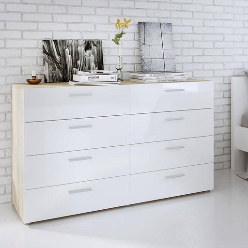 Pepe Wide Chest of 8 Drawers (4+4) in Oak with White High Gloss - Simply Utopia