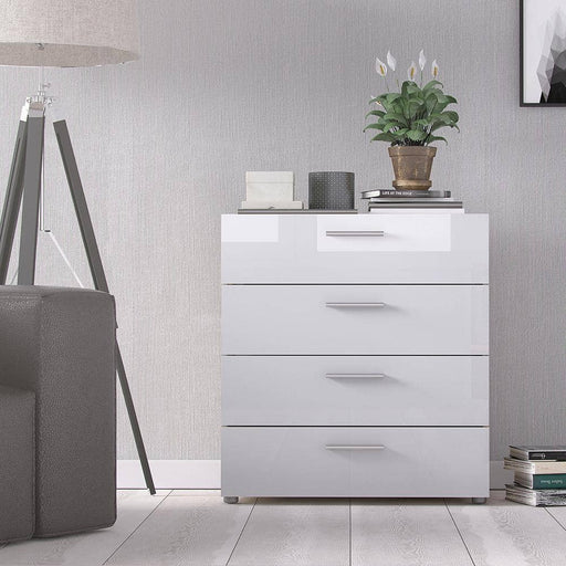 Pepe Chest of 4 Drawers in Oak with White High Gloss - Simply Utopia