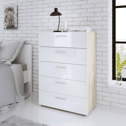 Pepe Chest of 5 Drawers in Oak with White High Gloss - Simply Utopia