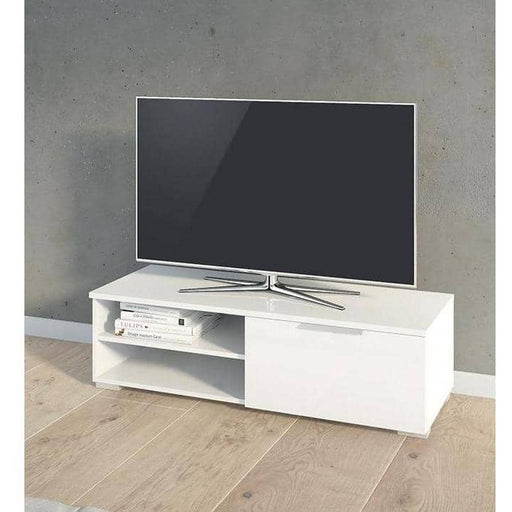 March TV Unit 1 Drawers 2 Shelf in White High Gloss - Simply Utopia
