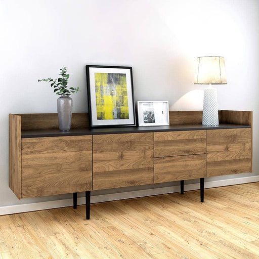 Unit Sideboard 2 Drawers 3 Doors in Walnut and Black - Simply Utopia