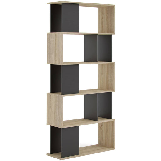 Maze Oak and Black Finished Open Bookcase With 4 Shelves - Simply Utopia
