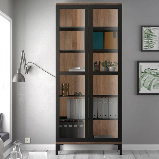 Roomers Display Cabinet Glazed 2 Doors in Black and Walnut - Simply Utopia