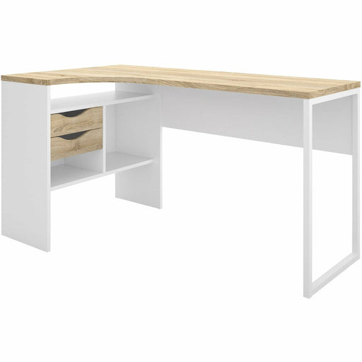 Function Plus Corner Desk 2 Drawers in White and Oak - Simply Utopia