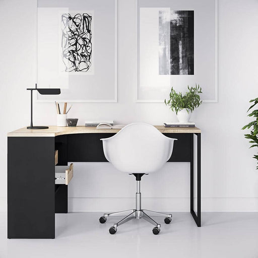 Function Plus Corner Desk 2 Drawers in Black Matt and Oak - Simply Utopia