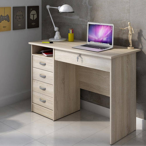 Function Plus Desk 5 Drawers in Oak - Simply Utopia