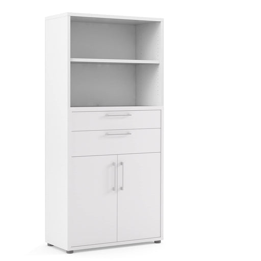 Prima Bookcase 4 Shelves with 2 Drawers and 2 Doors - Simply Utopia