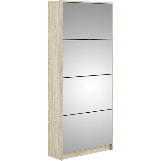 Shoe cabinet w. 4 mirror tilting doors and 2 layers - Simply Utopia