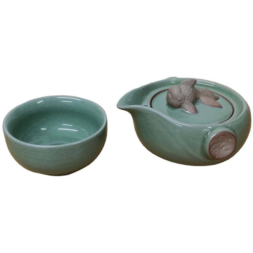 Goldfish Green Porcelain Teaset for One - Simply Utopia