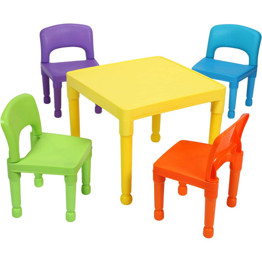 Children's Multi-Coloured Table & 4 Chairs Set - Simply Utopia